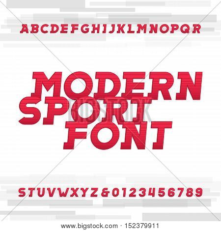 Oblique alphabet vector font. Modern sport style typeface for labels, titles, posters or sportswear transfers. Type letters, numbers and symbols on the bright background.