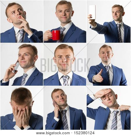Collage of various business man poses and expressions