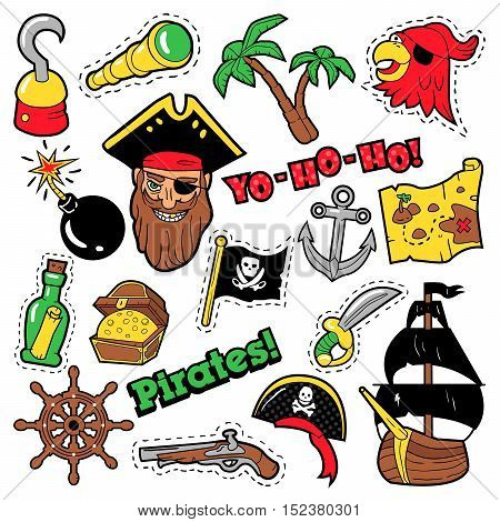 Pirates Badges, Patches, Stickers - Ship, Crossbones and Skeleton in Pop Art Comic Style for Fabric Textile. Vector illustration