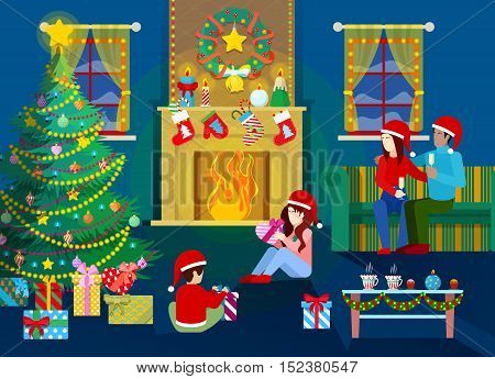 Merry Christmas Eve. Happy Family in Home Interior with Christmas Tree, Fireplace and Gifts. Vector Background