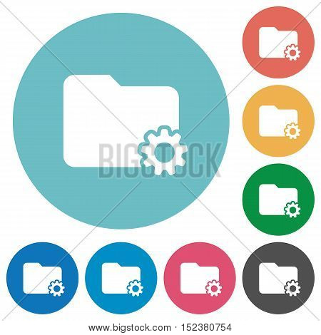 Flat folder settings icon set on round color background.