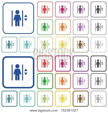 Set of elevator flat rounded square framed color icons on white background. Thin and thick versions included.