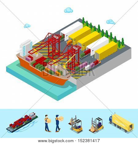 Isometric Sea Cargo Port with Freight Container Ship and Trucks. Flat 3d Vector illustration