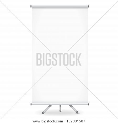 Blank roll up banner display for advertising or presentation on white background