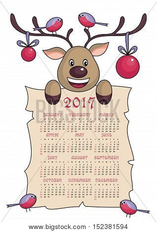 calendar 2017  with the image of funny  deer.