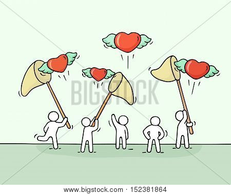 Sketch of little people with flying hearts. Doodle cute miniature scene of workers trying to catch love. Hand drawn cartoon vector illustration for valentine day design.