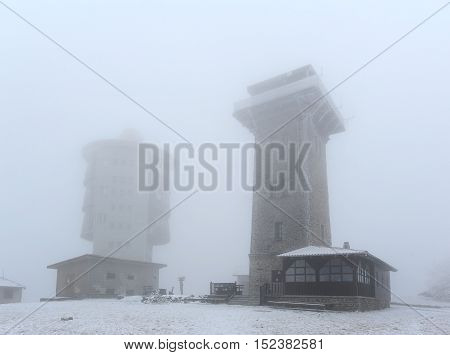 Lookout Cerchov with snow and frost in western Bohemia