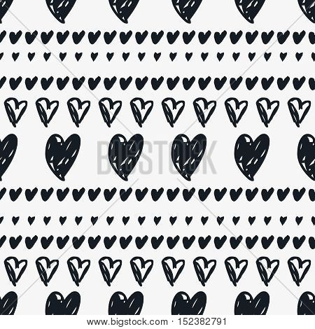 Hand drawn heart vector background. Seamless black and white striped valentines day pattern.