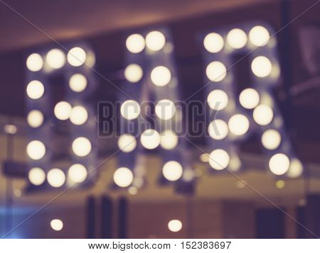 Blurred Bar signage Lights decoration outdoor Event Party