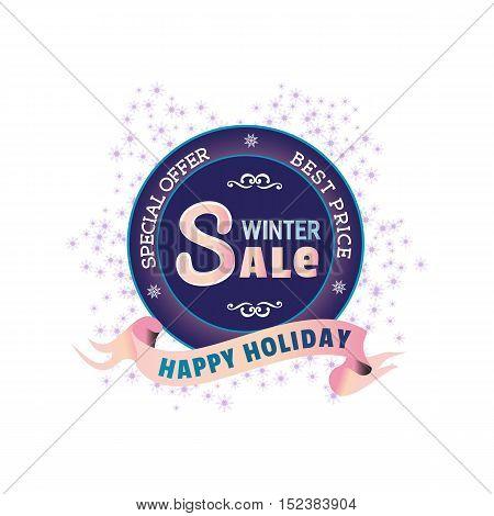 Winter sale concept. Best price Happy holiday season badge. Special offer promotion emblem. Flat design element Christmas decoration. Background for festive hot deal advertisement. Vector illustration