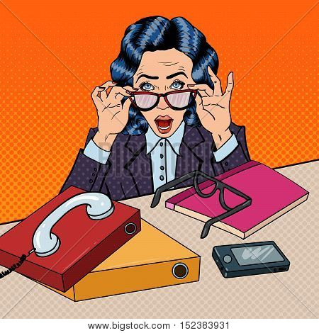 Pop Art Stressed Business Woman at Multi Tasking Office Work. Vector illustration