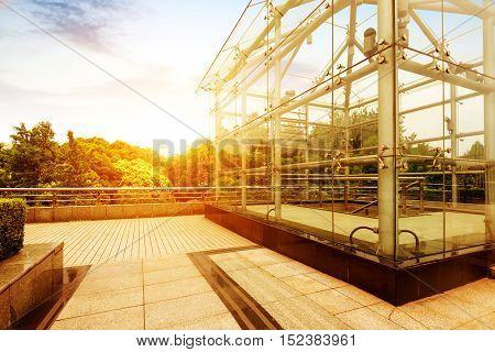 The glass hut of the urban pedestrian underground passage.