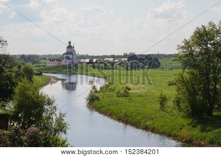 Kamenka river , city Suzdal. Golden Ring of Russia.