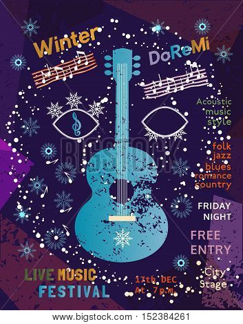 Template Poster Design with acoustic guitar silhouette. Idea for seasonal Winter Live Music Festival show. Musical event promotion  advertisement background. Vector illustration.
