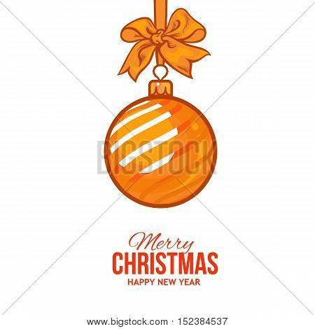Christmas ball with gold ribbon and bow, vector greeting card template with white background. Shiny Christmas decoration ball of solid gold color, greeting card template for Christmas and New Year Eve