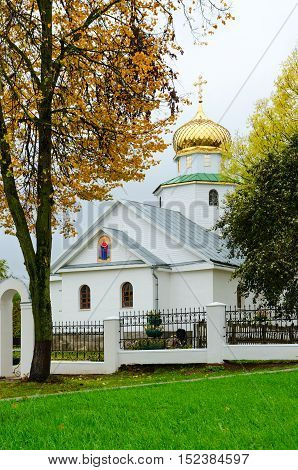 Church of St. Nicholas Senno Belarus. Autumn landscape