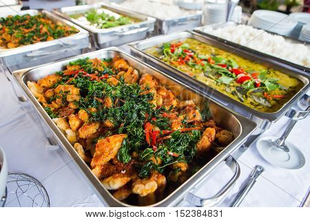 Food buffet style wedding in the Thailand