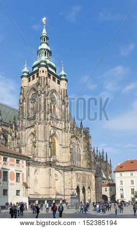 PRAGUE, OCTOBER 15: St. Vitus Cathedral in Hradcany at Prague Castle on October 15, 2016 in Prague, Czech Republic.