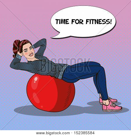 Pop Art Smiling Fit Woman Exercising on Fitness Ball in Gym. Vector illustration