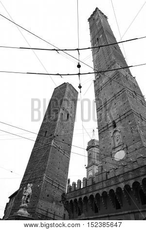 Asinelli and Garisenda towers in Bologna, Italy. Black and white image