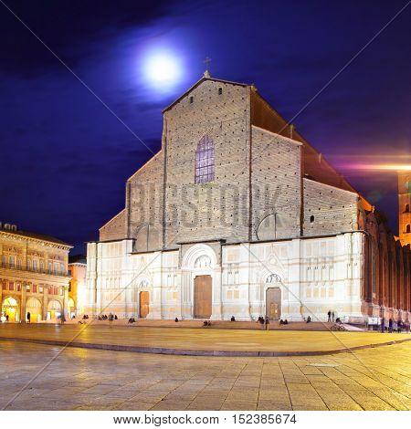San Petronio church in Bologna at night, Italy