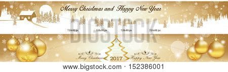 Christmas and New Year web Leaderboard banners with Jingle bells, Christmas Baubles. Space for your own advertising.