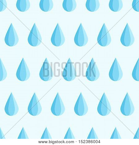 Seamless blue water drop fall down. Vector flat illustration background pattern