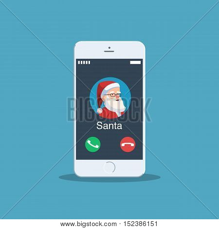 Christmas call from Santa Claus. Avatar Santa on your phone screen. Vector illustration for holiday design web banners website or greeting cards