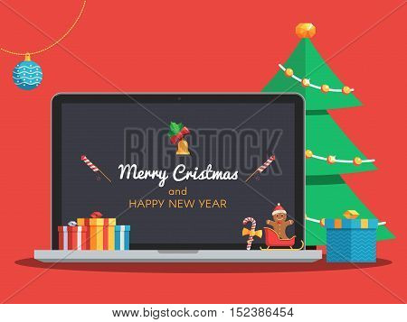 Laptop with Merry Christmas and Happy New Year lettering on the screen. Gift boxes, candy, ball, bell and Christmas tree. Christmas banner with greeting text. Flat style vector concept holiday illustration