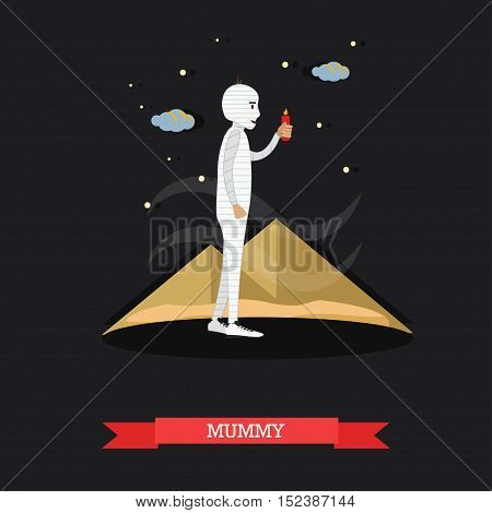 Mummy with candle. Happy halloween holiday concept poster. Vector illustration in flat style design.