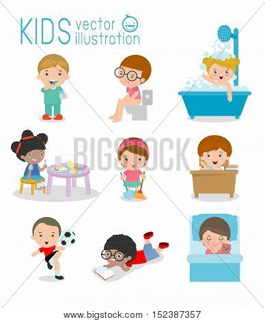 daily routine, daily routines for kids, daily routine of child, Little child daily activities, Daily Routine set with cute kids Vector Illustration on white background