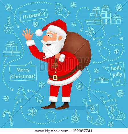 Santa Claus flat character isolated on blue Christmas hand drawn background. Standing funny old man carrying sack with gifts, waving hand and telling Merry Christmas. Cartoon vector illustration