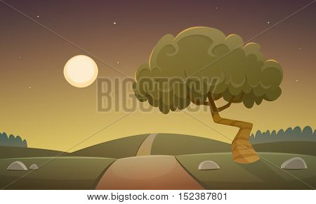 Cartoon illustration of the night countryside landscape with road and tree.
