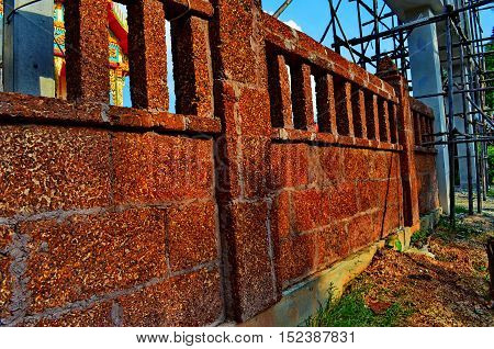 Walls built with bricks beautiful and durable.
