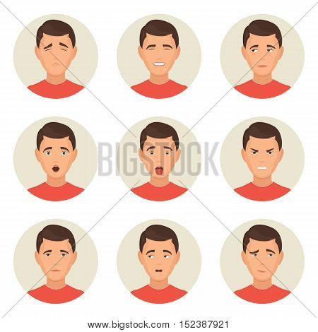 Emotions faces characters. Avatar icon. Vector Illustration trendy flat design for web and printed materials