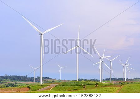 The windmill turbine field with the sky
