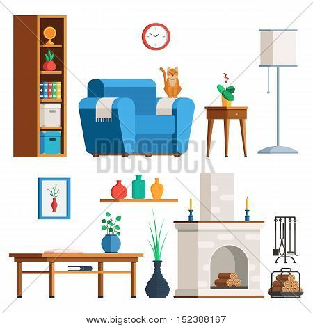 Furniture Interior set. Living room: lamp, coffee table, plant, fireplace, firewood, cat, bookshelves armchair Flat style trendy vector illustration sign