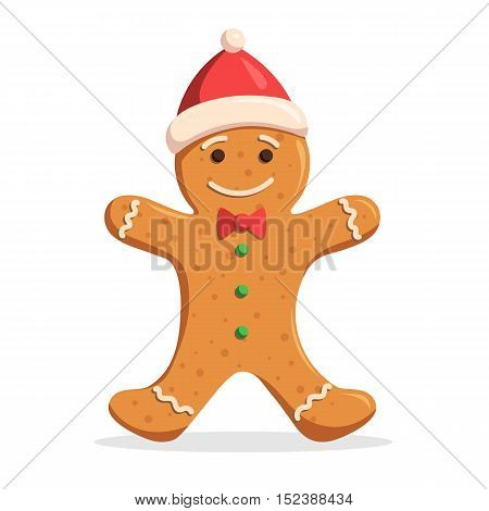 Gingerbread man Christmas decorations frosting in a Santa hat. Vector illustration isolated on white background for design holiday web banners, icons for website or greeting cards