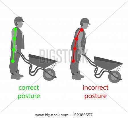 correct posture worker who carries a wheelbarrow. medical advice. vector illustration.