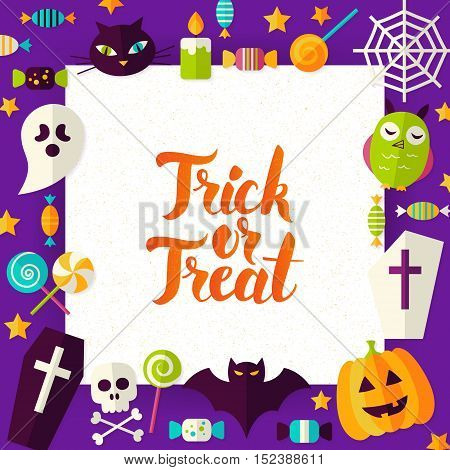 Trick or Treat Paper Template. Vector Illustration Flat Style Happy Halloween Concept with Lettering.