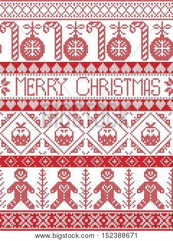 Scandinavian style and Nordic culture inspired Merry Christmas seamless card with  winter pattern including gingerbread man, candy cane, bauble, Christmas Puddings, decorative ornaments,  in stitch