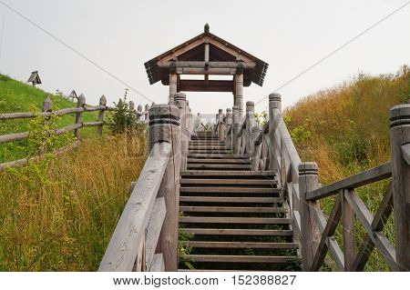 Wooden stairs to Mount Levitan, Ples, Ivanovo Oblast. Golden Ring of Russia.
