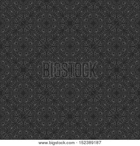 Seamless islam pattern. Vintage floral background. Vector islamic royal black pattern. Oriental design and baroque wallpaper