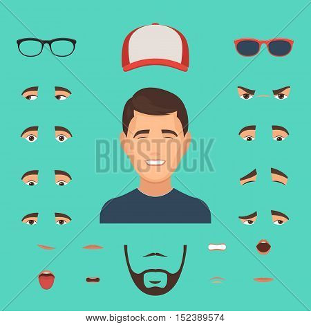Man face emotions constructor elements: eyes, glasses, lips, beard, mustache. Avatar icon creator. Vector Illustration trendy flat design for web and printed materials