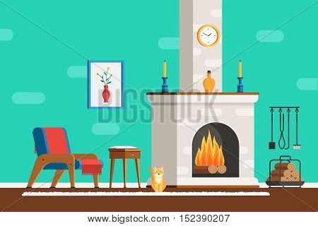 Living room interior with furniture: cozy armchair, fireplace, table, picture, clock, tools and the cat. Flat style vector illustration