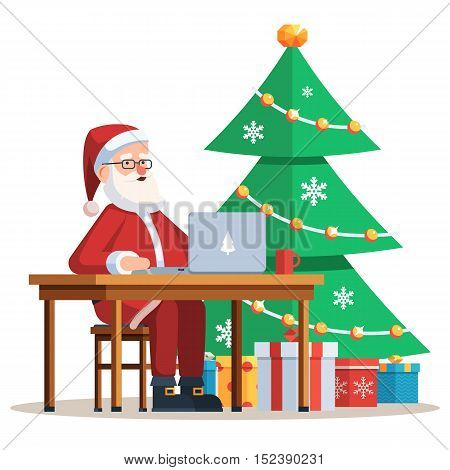 Modern Santa Claus sitting at Desk and working on his laptop. Christmas tree with gift boxes. Festive Vector illustration of a trendy flat style design