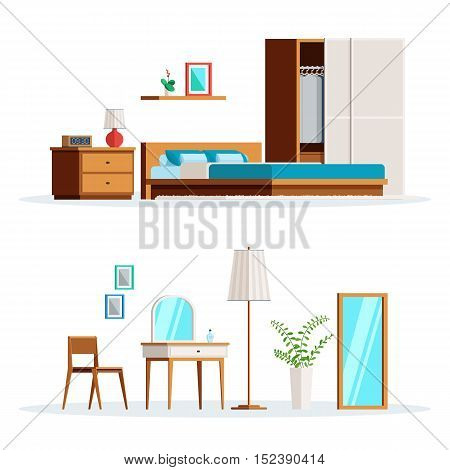 Scene bedroom interior set isolated on white background. Flat style trendy  vector illustration for web banner or print