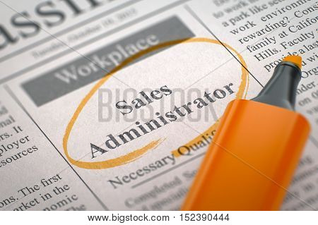 Newspaper with Small Advertising Sales Administrator. Blurred Image with Selective focus. Job Seeking Concept. 3D Rendering.
