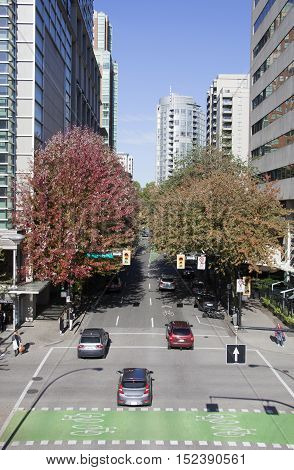 The view of green colorful street in Vancouver (British Columbia).