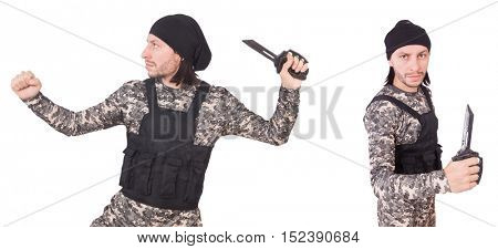 Soldier with knife isolated on white